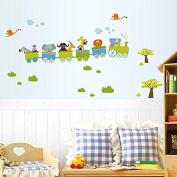B & Y Decorative Peel Vinyl Wall Sticker Kids Baby Rooms Nursery Removable Decals - Happy Roller Coaster