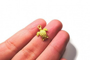 Foxy Findings Turtle Charm, 5 Pieces Mini Turtles - 24K Gold Plated Charms - Pendant - Bracelet Necklace Charms - CMISCG010
