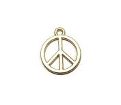 Foxy Findings 3 Pieces Hippie Peace Symbol Charms, 24K Peace Sign Mini Pendants - CMISCG007