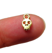 Foxy Findings Skull Charms, 24K Gold Plated, Gold Skull Charm, Turkish Findings // Gold Plated Jewellery Supplies -10 Pieces CMISCG004