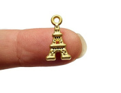 Foxy Findings 5 Pieces Super Tiny Plated Eiffel Tower Charm 24K Gold Plated Eiffel Tower Charm Pendant, Paris Eiffel Tower pendant, CMISCG001