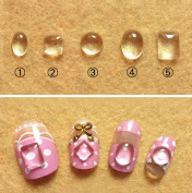 WellieSTR Set Of 5 Stlye (500PCS) Mini Glass Nail Art Magnifying Cabs - 6*4/5*5/6*6/8*6/8*6mm