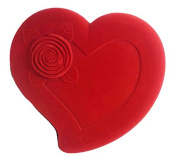 Red Rose Heart Shaped Velvet Jewellery Box.