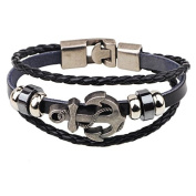 luckyjj® jewellery fashion pirate icon wristband cuff bracelet stainless steel leather chain silver black