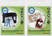3L Small Self Laminating Pouches Cards 01855 and Self Laminating Tags With Loop 01854 Home and Hobby Bundle 2 Items