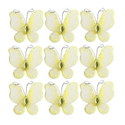 LEORX 50pcs Sheer Mesh Wire Glitter Butterfly with Gem Decoration - Yellow