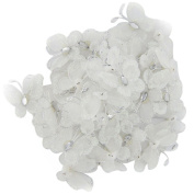 LEORX Sheer Mesh Wire Glitter Butterfly with Gem 50pcs - White