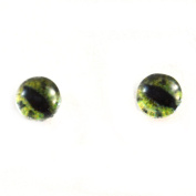 6mm Pair of Green Alligator Glass Eyes Flatback Cabochons for Toy Doll or Jewellery Making