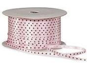 Satin Ribbon Pink & Chocolate Dotted Ribbon - 4 Yards