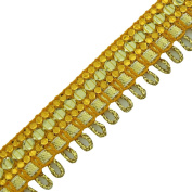 Golden Ethnic Trim Braided Ribbon Handcrafted Sequin pillow curtain Lace By T...