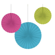 Club Pack of 18 Solid Blue, Green, & Pink Hanging Tissue Paper Fan Party Decorations 41cm