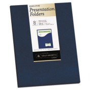 Southworth 98874 9 x 12 One-Pocket Presentation Folders, Navy