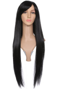 ACEVIVI Fashion Women Hair Wig Oblique Bangs Long Long Straight Wig Silky Synthetic Wig Heat Resistant,Black
