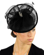 NYFASHION101 Cocktail Fashion Sinamay Fascinator Hair Clip Design & Mesh - Black