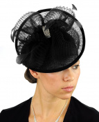 NYFASHION101 Cocktail Fashion Sinamay Fascinator Hair Clip Design & Mesh - Black