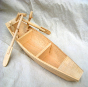 WellieSTR Natural Wood Craft Project Wooden Model Wood Boat Wood Canoe with Oars 30cm