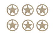 Texas Star Shape Unfinished Wood Cut Outs 7.6cm Inch 6 Pieces TXS-06