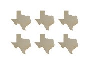 Texas State Shape Unfinished Wood Cut Outs 7.6cm Inch 6 Pieces TX03-06