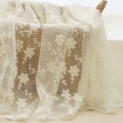 Width 130cm Beige Wedding Lace Fabric, Flower Embroidered Lace, DIY Floral Lace