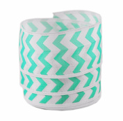 Chevron Print Teal and White Satin Wired Ribbon #23cm - 3.8cm x 10 yards