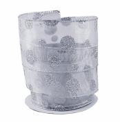 Glittery Silver Polka Dots on Sheer Wired Ribbon #100cm - 6.4cm x 10 yards