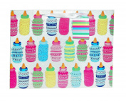 Glittered Baby Bottles Tote Gift Bag, Large, 5 x 25cm x 32cm