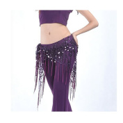 Violet-purple shining Sequin Crochet Net Triangle Shawl Wrap Belly Dance Hip Scarf