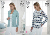 King Cole Womens Opium Knitting Pattern Ladies Long Sleeved Cardigan & Striped Sweater