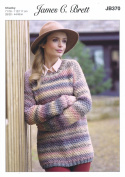James Brett Ladies Knitting Pattern Womens Long Sleeved Sweater Marble Chunky