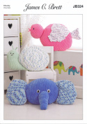 James Brett Knitting Pattern Elephant Snail & Bird Cushions Flutterby Chunky Yarn