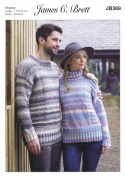 James Brett Knitting Pattern Womens & Mens Round or Polo Neck Sweaters Marble Chunky