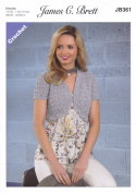 James Brett Ladies Crochet Pattern Womens Cropped Short Sleeve Bolero Noodles Chunky