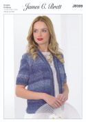 James Brett Double Knitting Pattern Womens Ladies Lace Jacket Cotton On Denim DK