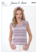 James Brett Double Knitting Pattern Womens Ladies Sleeveless Top Cotton On Denim DK