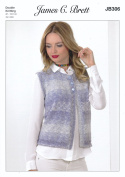James Brett Double Knitting Pattern Womens Ladies Waistcoat Cotton On Denim DK