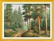 Joy Sunday® Cross Stitch Kit 14CT Stamped Embroidery Kits Precise Printed Needlework- Pine forest 50×39CM