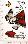 black butterfly red rose Temporary Waterproof Tattoo Art Body Stickers Removable Fashion Henna Tattoo Inspired Sticker Gifts by Magic movement