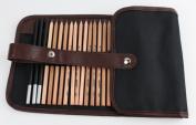 Finex® Premium 18pcs Sketch Pencils Eraser Knife Pencil Extender Paper Pen Drawing Set With Bag
