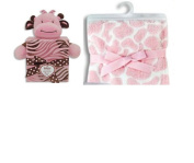 Giraffe with Gift Box Pink & Brown - Plush and Pink Animal Print Blanket