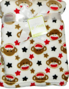 Baby Starters Sock Monkey & Stars 80cm x 100cm Fleece Blanket