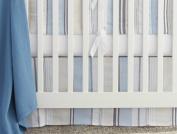 Organic Cotton Sunset Stripe Crib Skirt - Cool Blue
