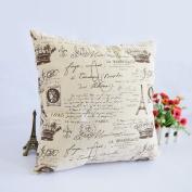 Paris Eiffel Tower Letter Vintage Home Decorative Pillow Case Cushion Cover