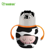 Haakaa 300ml Wide Neck Food Grade Stainless Steel Baby Bottle with a Wide Neck Food Grade Silicone Nipple and a Pure Cotton Cover (Cow