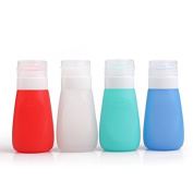 Gloriest Travel Size Bottles Four Leak Proof Portable Silicone Containers in a TSA Approved For Aeroplane,Gym,Rv with Shampoo, Conditioner, Lotion,Food Salad Dressing