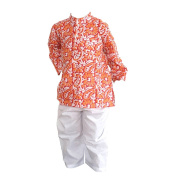 Flawnt Floral Printed Red Cotton Kurta and Payjama Set for Baby boys