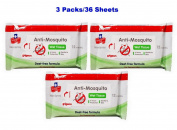 PIGEON Baby Wipes Anti-Mosquito Wet Tissue Deet-Free Formula Set of 36 Sheets
