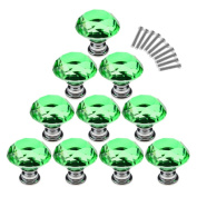 WICOO 10Pcs 30mm Crystal Glass Diamond Shape Cabinet Knobs Cupboard Drawer Pull Handles - Green