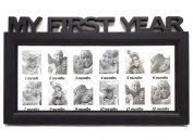 Black Frame Baby's First Year Timeline Collage Picture Frame