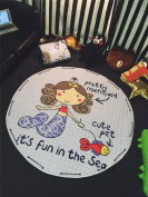 Korea Cartoon Style Lovely Mermaid Game Carpet Rugs 150cm Diameter Toys Storage Bags for Children
