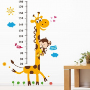 Sduck PVC Home Art Decor Mural Creative Naughty Monkey and Yellow Giraffe wall sticker for kid's bedroom cartoon animals Height Chart Nursery Removable Wallpaper Paper House DIY Decoration, 60*90cm